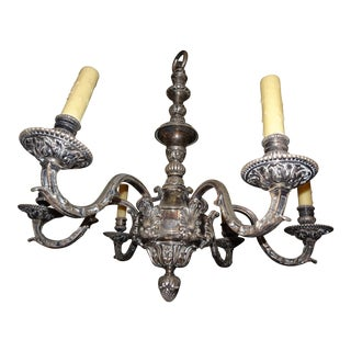 19th Century French Silvered Bronze Chandelier For Sale