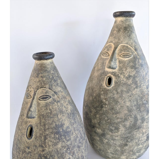 Large Whimsical Ceramic Stoneware Face Vessels - a Pair For Sale - Image 11 of 12