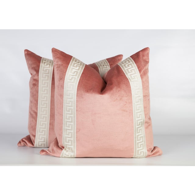 2010s Blush Pink Velvet Greek Key Pillows, a Pair For Sale - Image 5 of 6