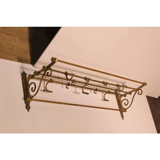 Antique Coat and Hat Brass Wall Rack - Image 2 of 2
