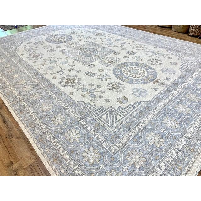 Textile Ivory Field Khotan Rug- 10'x14' For Sale - Image 7 of 13