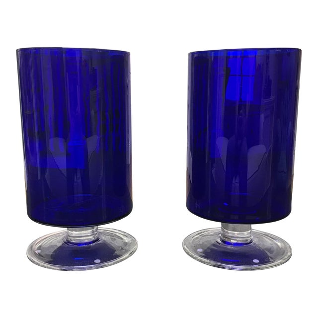 Cobalt Blue Glass Hurricanes - Image 1 of 6
