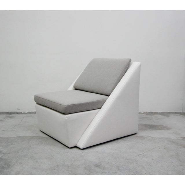 Fabric Post Modern Geometric Sofa and Chair With Ottoman Set by Thayer Coggin For Sale - Image 7 of 13