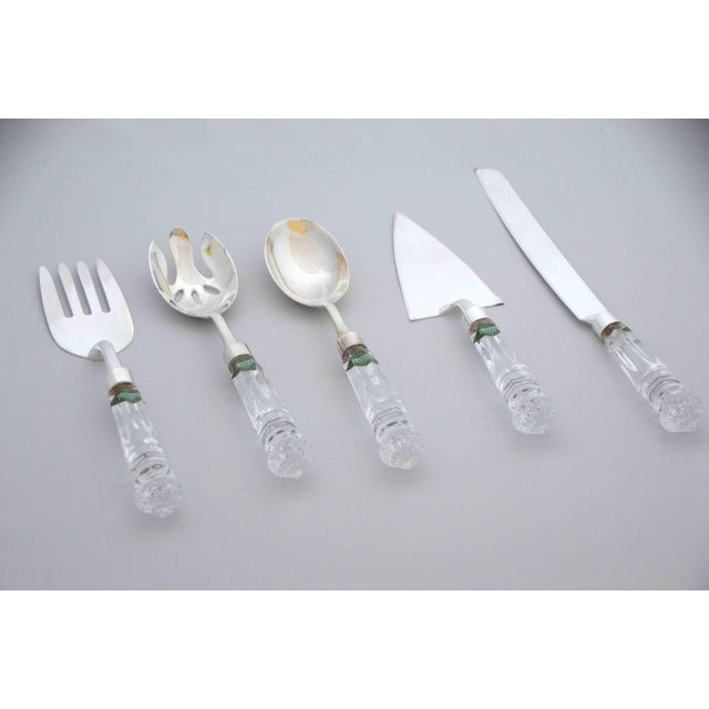 Contemporary Crystal and Silver Serving Utensils Shannon Crystal by Godinger - Set of 5 For Sale - Image 3 of 10