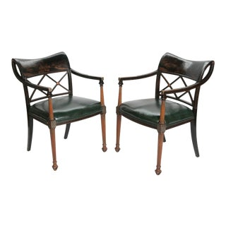 Pair of Regency Style Lacquer Arm Chairs For Sale