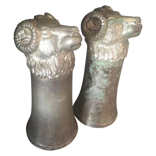 Silver Plated Pewter Ram Stirrup Cups - A Pair - Image 1 of 9