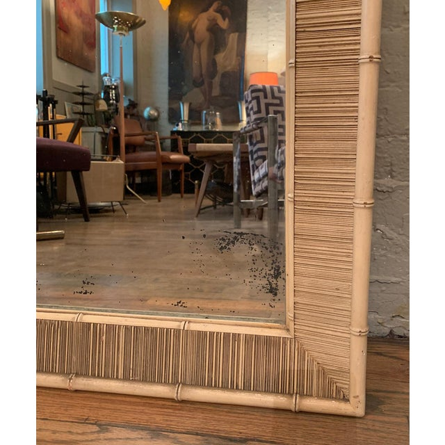 Mid 20th Century Paul Frankl Style Mid Century Bamboo Motif Wall Mirror For Sale - Image 5 of 6