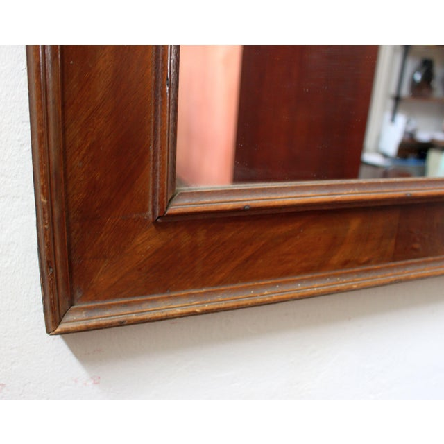 Antique French walnut wood and walnut veneer ,mirror is replaced.