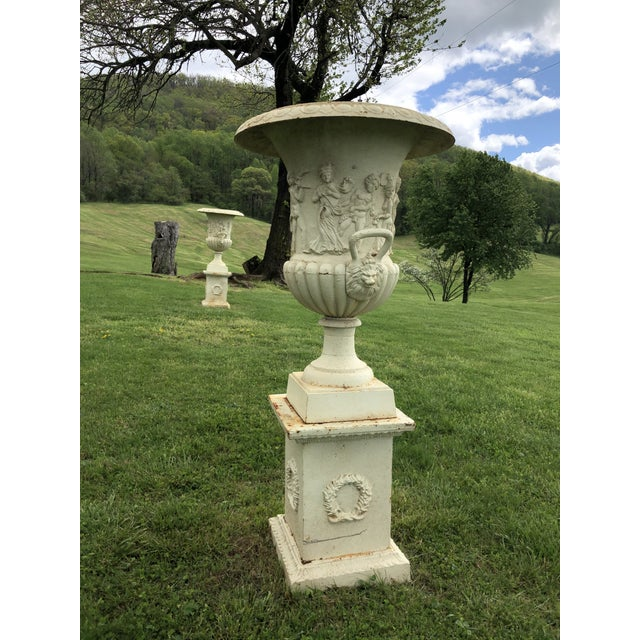 Metal Cast Iron Greek Revival Garden Estate Urns on Pedestals - a Pair For Sale - Image 7 of 10