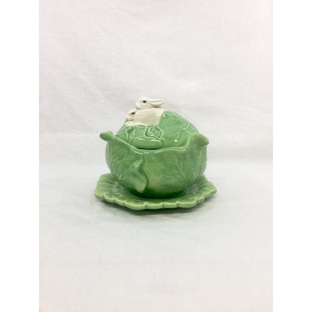Cottage Rabbit & Cabbage Tureen & Under Plate For Sale - Image 3 of 10