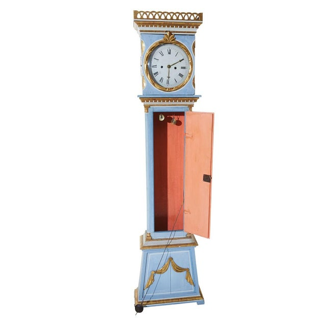 Antique Swedish Mora Clock A first half of the 19th Century classical Bornholms Clock with original blue paint, carved...