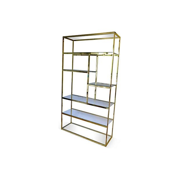 Hollywood Regency Mid-Century Milo Baughman Style Brass Etagere For Sale - Image 3 of 4