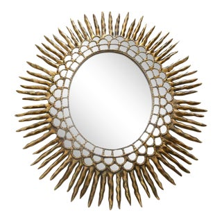 1970s Spanish Colonial Sunburst Oval Giltwood Wall Mirror For Sale