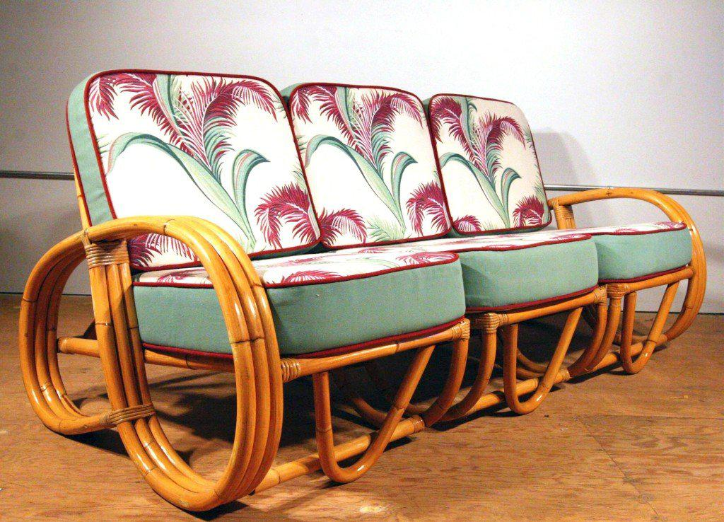 Three Strand 3 4 Reverse Pretzel Arm Rattan Sofa Features A Decorative Wave Detail