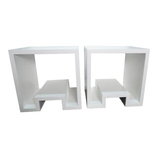 Modern Design Solid Wood Accent Side Tables - a Pair For Sale