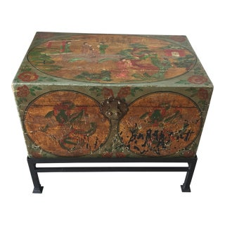 Vintage Chinoiserie Chest on Black Stand For Sale