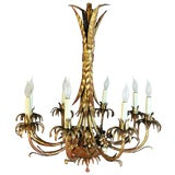 Image of 1940's Vintage Italian Hollywood Regency Gold Gilt Iron Chandelier For Sale