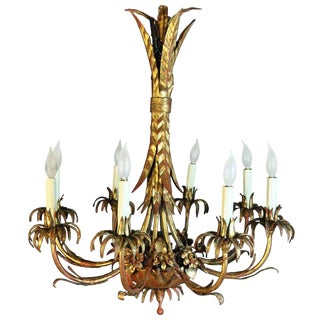 1940's Vintage Italian Hollywood Regency Gold Gilt Iron Chandelier