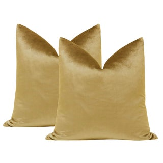 "22"" Italian Silk Velvet Pillows in Gold - a Pair For Sale"