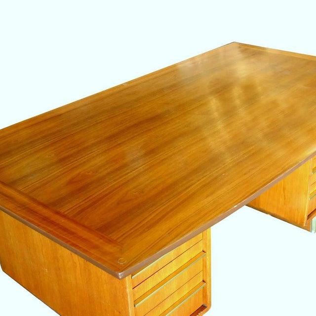Mid-Century Mahogany Executive Desk With Brass Pulls - Image 10 of 10