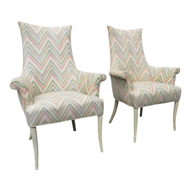Vintage Painted Tall Pair of Living BedRoom Fireplace Side Chairs For Sale