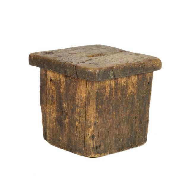 Small Rustic Square Oak Stool With Pierced Top, English Circa 1800. For Sale - Image 12 of 13