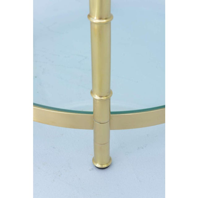 Brass Polished Brass Faux Bamboo End Table For Sale - Image 7 of 11