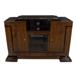 Art Deco Sideboard/Bar with Bookmatched Walnut, Exotic Marble and Brass Pulls