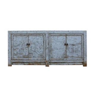Chinese Distressed Rough Off White 4 Doors Sideboard Table Cabinet For Sale