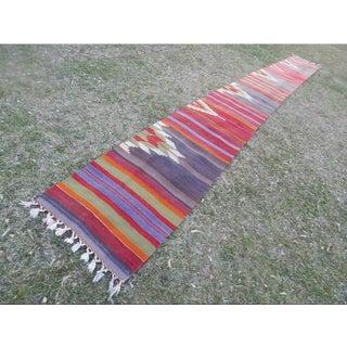 1970s Hall Runner, Tribal Flat Woven Turkish Kilim Runner 2'2'' X 20'1'' Stair Rug Preview