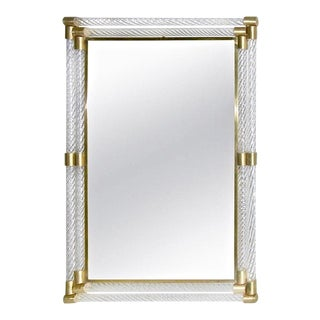 Double Frame Twisted Murano Glass Mirror With Gold Brass Accents For Sale