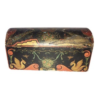Antique American Folk Art Dome Hinged Lid Box For Sale