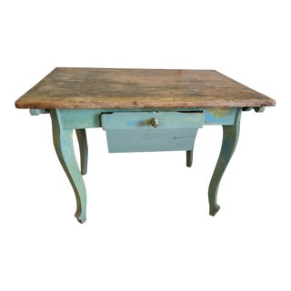 Antique French Baker's Console Table With Drawer For Sale