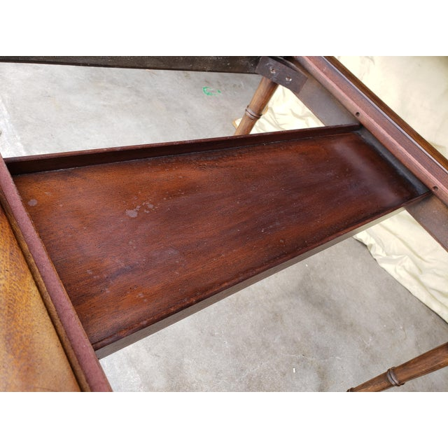 """1980s Hollywood Regency Drexel """"Et Cetera"""" Game Table Leather Top Game Table For Sale - Image 9 of 11"""