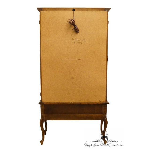 Hammary Solid Cherry Louis XVI Country French Lighted Curio Display Cabinet For Sale - Image 11 of 13