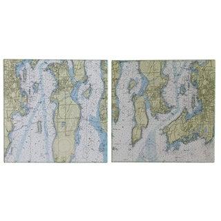 1990s Vintage Nautical Chart Tiles - Set of 2 For Sale