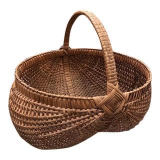 Antique Oak Splint Woven Gathering Basket For Sale