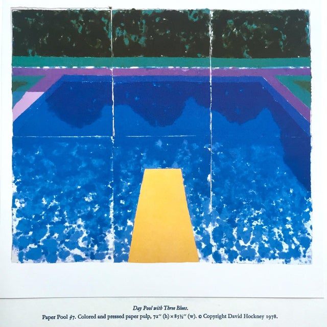 """David Hockney Vintage 1978 Rare Tyler Graphics Iconic Lithograph Print """" Day Pool With Three Blues ( Paper Pool #7 ) """" For Sale - Image 11 of 13"""