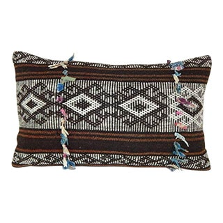 Mid Century Goat Hair Brown Kilim Pillow With Traditional Style, Living Room Bohemian Decor, Anatolian Cushion Cover 14'' X 24'' (35 X 60 Cm) For Sale