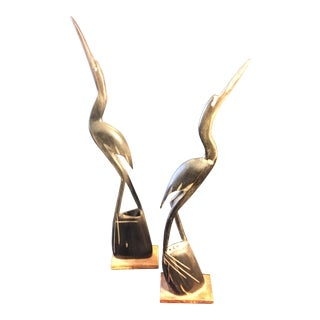 1970s Vintage Carved Egret Figurines - A Pair For Sale