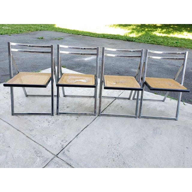 Mid Century Modern Chrome & Cane Folding Chairs- Set of 4 For Sale - Image 13 of 13