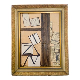 Mid 20th Century Abstract Mixed-Media Oil Painting, Framed For Sale