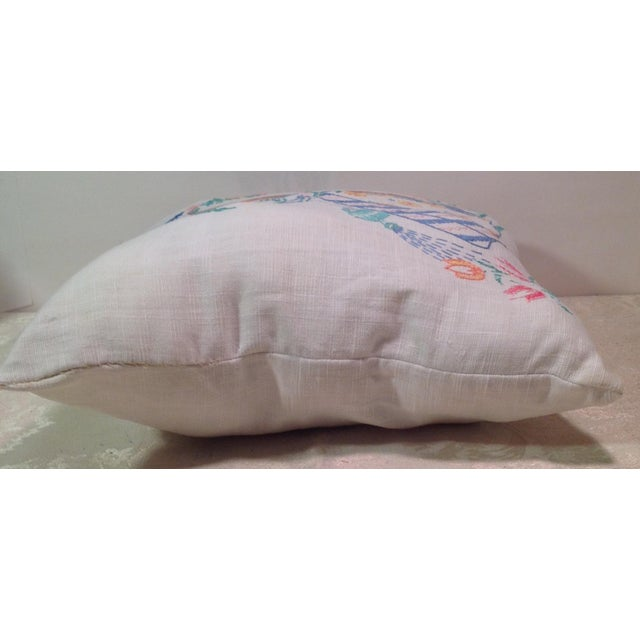 Mid-Century Modern Hand Embroidered Pillow - Image 4 of 5