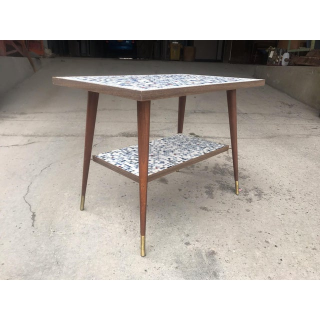 1950s Vintage Mid-Century Modern Mosaic Tile Occasional Table For Sale - Image 5 of 9