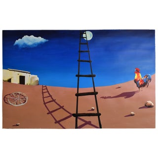 The Black Ladder (Homage to Miro) Original Geoff Greene Painting For Sale