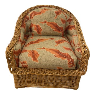 Wicker Works Vintage Tropical Leaf Palm Beach Braided Wicker Arm Lounge Chair For Sale