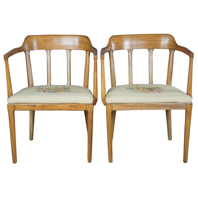 Tomlinson Arms Chars Circa 1957 Made from walnut with a barreled slat back and embroidered seat
