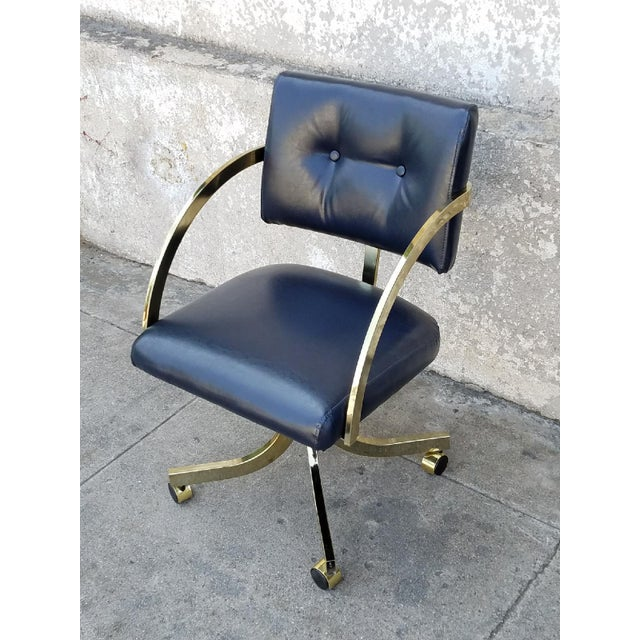 Mid-Century Modern Milo Baughman Navy Office Chair For Sale - Image 3 of 6