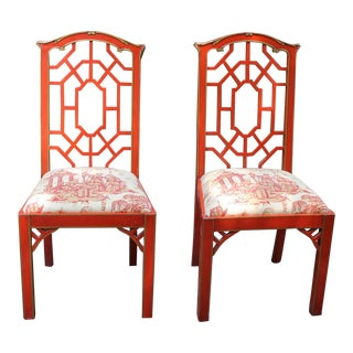 Chinese Chippendale Chinoiserie Fretwork Accent Side Chair - a Pair For Sale