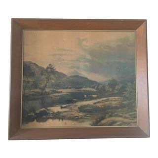 Framed Vintage Landsape Print For Sale